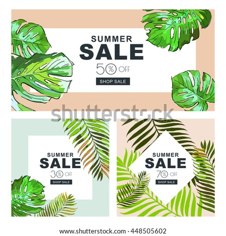 Set of summer sale banners with coconut palm leaves. Vector horizontal and square banners. Summer poster background with frame and green tropical leaves. Discount labels. - stock vector