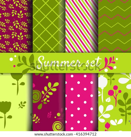 Set of summer - spring backgrounds. Vector image Cute seamless pattern for kids - stock vector