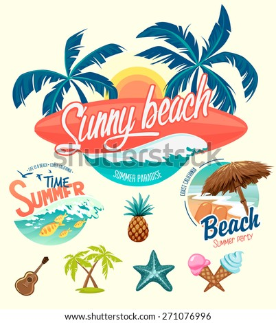 Set of Summer surfing badges and design elements - stock vector