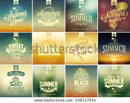 Set Of Summer Typographical Vintage Labels, Beautiful Seaside View Posters. Vector background