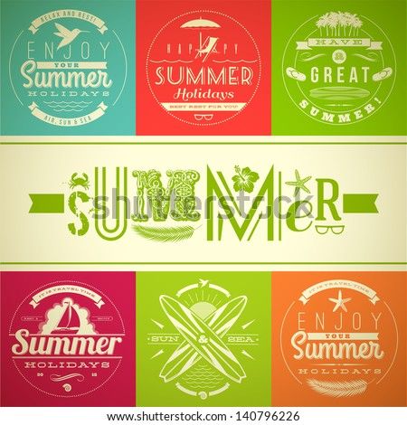 Set of summer vacation and holidays emblems with lettering and travel symbols - vector illustration - stock vector