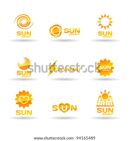 Set of sun energy icons. - stock vector