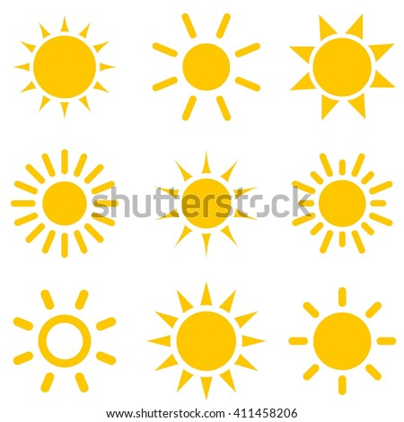 set of sun icons - stock vector