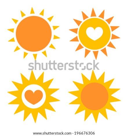 Set of sun icons. Vector illustration - stock vector