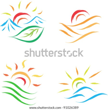 set of sun illustration in nature