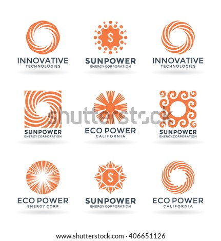 Set of sun symbols and logo design elements
