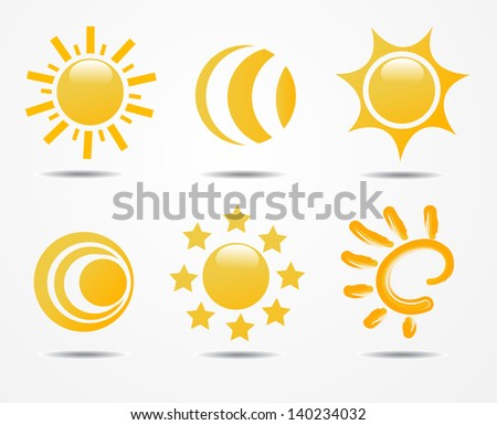 set of sun vector - stock vector