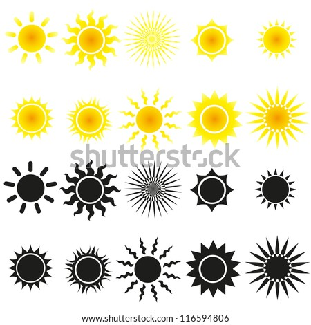 Set of sun vectors in yellow and black - stock vector
