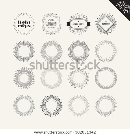 Set of sunburst vintage design elements. Vector hand drawn elements for graphic and web design.  - stock vector