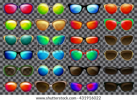 Set of sunglasses with multicolored frames and translucent glasses. Transparency only in vector format - stock vector