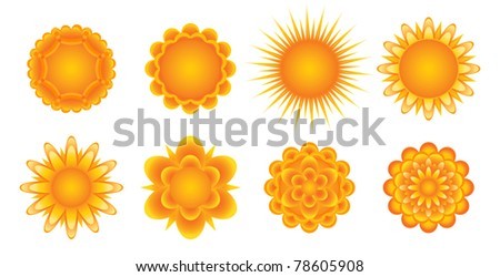 Set of sunny icons. Raster version available in my portfolio - stock vector