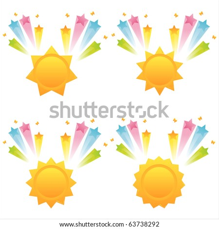 set of 4 suns with star splashes