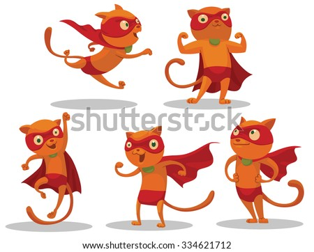 Set of Superhero Cats who looks very brave and can come to help very quickly, vector - stock vector