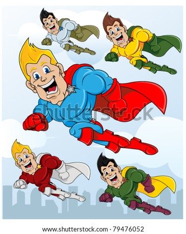 Set of superhero flying over the city - stock vector