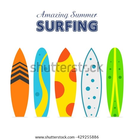 Set of surfboards with different designs in a flat style isolated on white background. Summer sport surfing board activity wave extreme collection and surfing wood board.