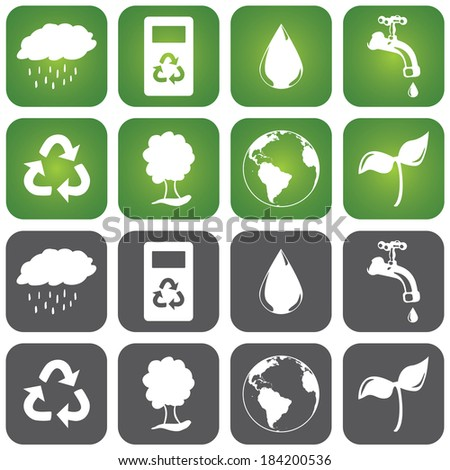 Set of sustainable icons in two different background colors, green and grey.. Flat design with rounded corners square shapes. - stock vector