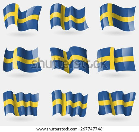 Set of Sweden flags in the air. Vector illustration - stock vector