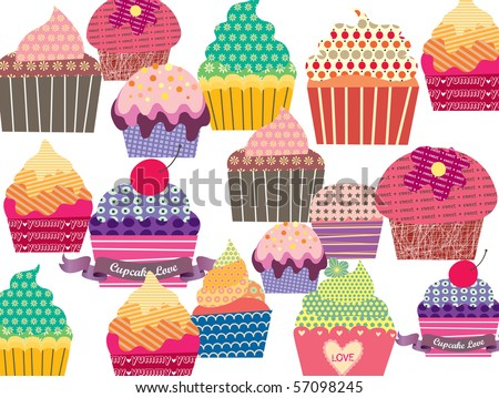 Set of sweet cupcakes - stock vector