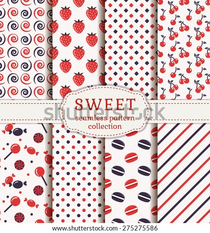 Set of sweet patterns. Collection of seamless backgrounds with candy, cherries, strawberries, macaroons and suitable abstract patterns. Vector illustration. - stock vector