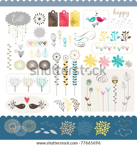 set of sweet scrap book or sticker collection - stock vector