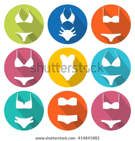 Set of swimming suit icons with long shadow in circles. Round icons bikini set. Flat design. Vector illustration - stock vector