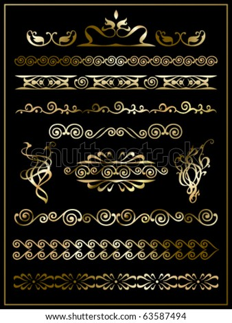 set of swirl elements and monograms - stock vector