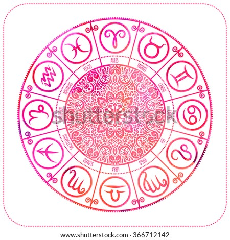 Set of Symbol Zodiac Sign. Zodiac icons. Freehand drawing. - stock vector