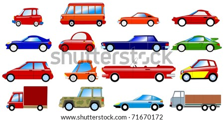 Set of symbolic cars. Vector - stock vector