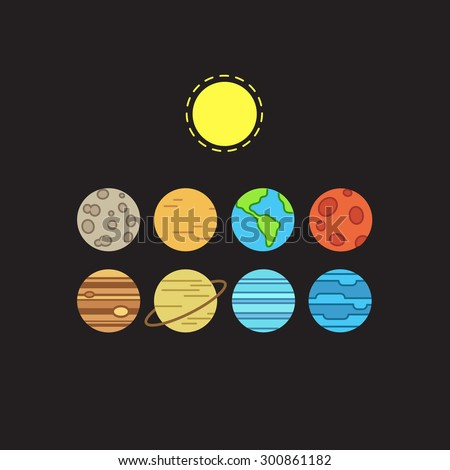 Set of symbolic stylized icons of solar system planets and sun on black background. - stock vector
