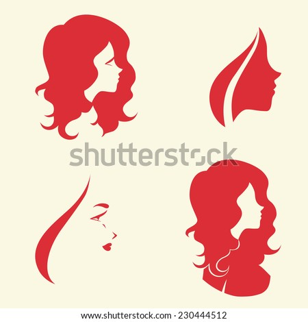 Set of symbolic women heads. Faces in profile. Signs for hairdresser, cosmetology or spa salon, Vector isolated. - stock vector