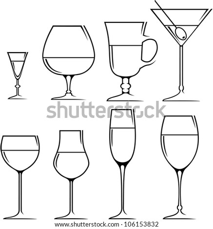 Set of symbols and icons glasses for alcoholic drinks.  vector - stock vector