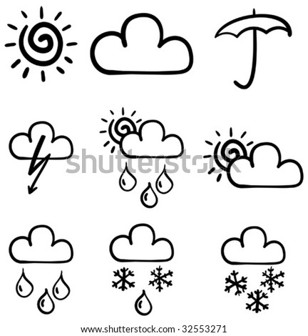 Set of symbols for the indication of weather. Vector illustration. Sketch simulate.