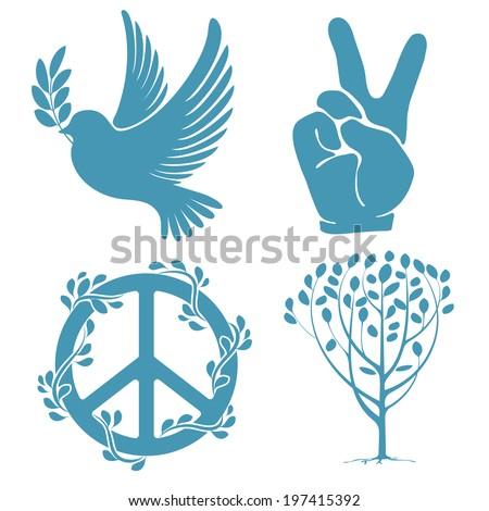 Set Symbols International Day Peace Stock Vector Royalty Free