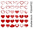 Set of symbols heart, isolated on white, vector - stock vector
