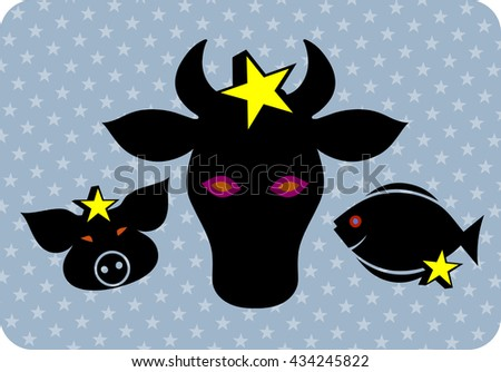 Set of symbols of fish and meat - stock vector