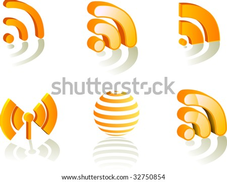 set of symbols -rss - stock vector