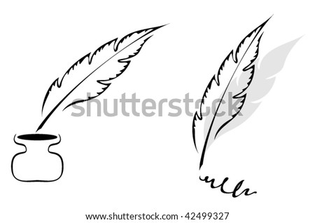 Set of symbols with feather isolated on white