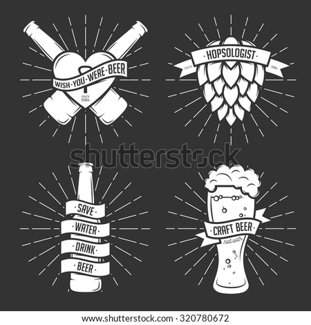 Set of t-shirt beer prints. Beer labels, badges, design elements. Vintage ribbons with funny quotes. Phrases about beer. - stock vector