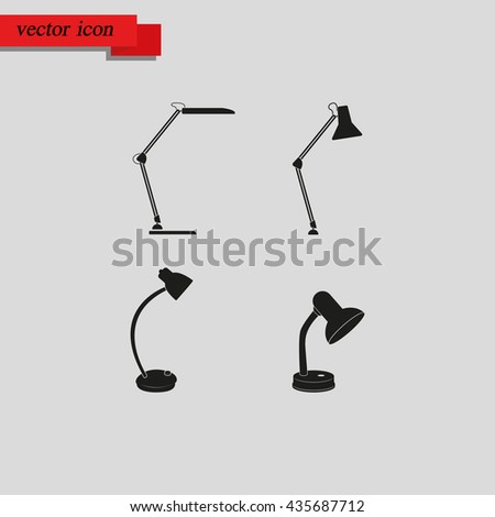 Set of table lamp icon.