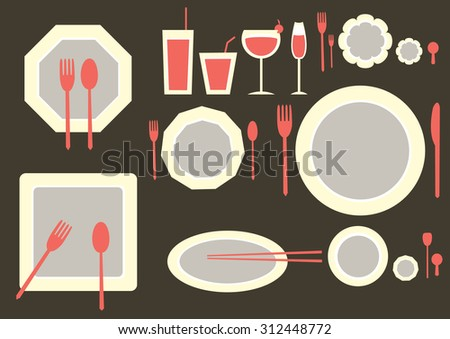 set of table ware on brown backgrounds - stock vector