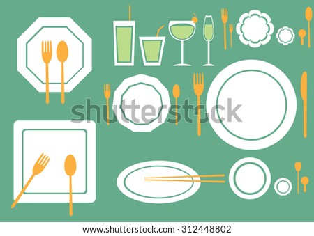 set of table ware on green backgrounds - stock vector