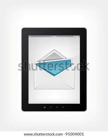 Set of Tablet PC on Grey Gradient Background. Vector. - stock vector