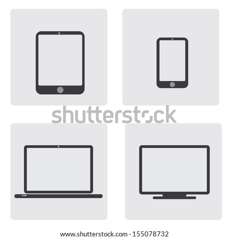 Set of tablet, phone, computer and laptop icon - stock vector