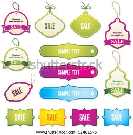 set of tags and labels - stock vector