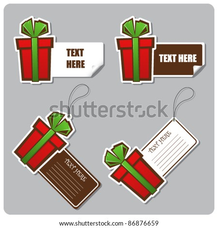 Set of tags and stickers with gift-box. Vector illustration. - stock vector