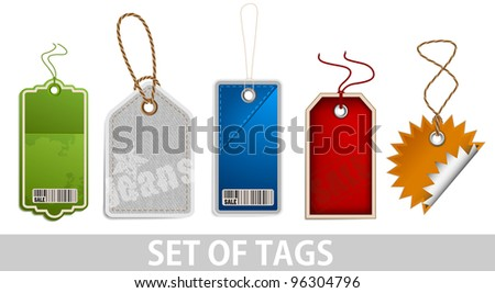 Set of tags on white background