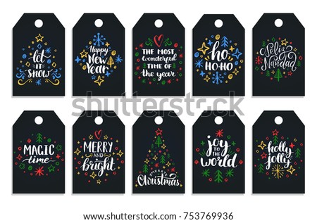 Set of tags with hand written Christmas phrases. Vector labels with New Year chalk drawings on black background.