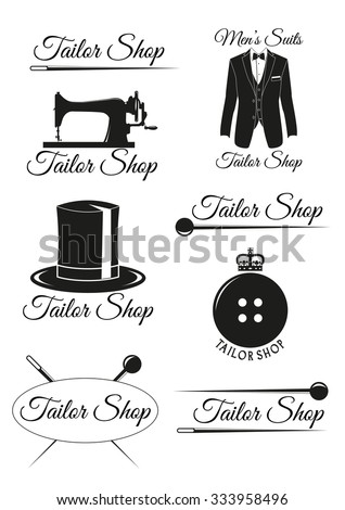Set of tailor shop black badges isolated on white background. Collection of elements for company logos, print products, page and web decor. Vector illustration. - stock vector