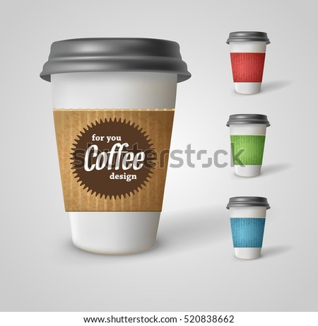 Set of takeaway coffee cups. Illustration on white background. Vector EPS10