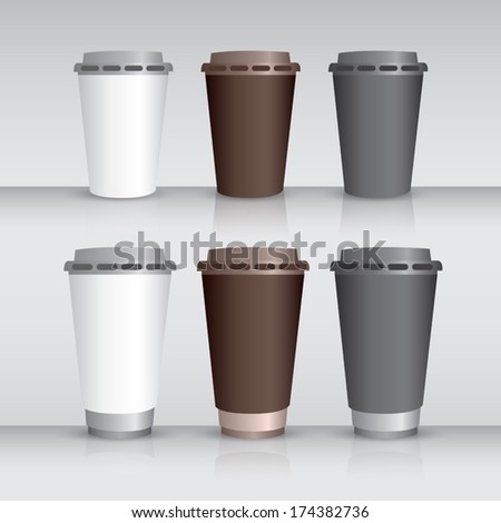 Set of takeaway coffee cups isolated on background
